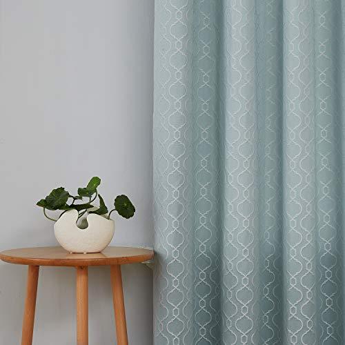 Deconovo Jacquard Vorhang mit Ösen Kindrzimmer Muster Thermovorhang 183x132 cm Himmelblau 2er Set