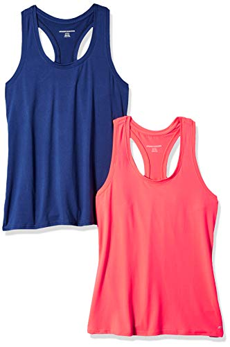 Amazon Essentials Women's 2-Pack Tech Stretch Racerback Tank Top, Bright Pink/Navy, X-Large