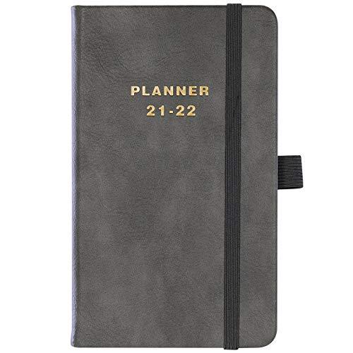 Agenda tascabile 2021-2022, settimanale e mensile, 2021-2022, da luglio 2021 a giugno 2022, 16,2 x 9,8 cm, con tasca interna, chiusura ad elastico, pagine per appunti, tessere mensili, portapenne.