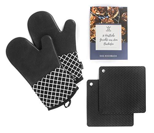 Genussfabrik - Stylische Ofenhandschuhe aus Silikon inkl. 2 Silikon Topfuntersetzer – BPA-Frei – Topfhandschuhe hitzebeständig - geeignet für Kochen und Backen – inkl. Ebook mit 10 Rezepten!
