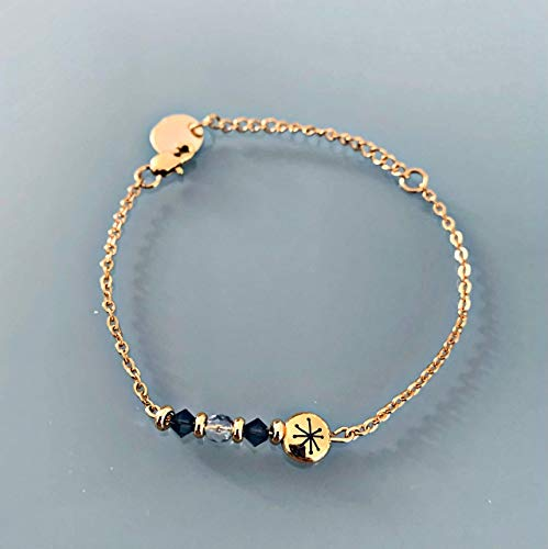 Constellation gourmet bracelet with Swarovski stones, gourmet woman bracelet Swarovski magic natural stones and 24k gold-plated Heishi pearls