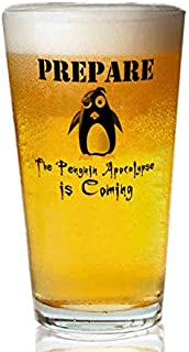 Transparent glass beer mug - The Penguin Apocalypse Pint Glass,16 oz. Drinking Glass– Elegant design for the home and kitchen – lead free and BPA,