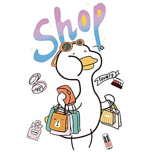 XIAMU Pegatinas de Equipaje de Pato Bonito de Dibujos Animados, Pegatinas Decorativas para Armario de Pared de Coche, refrigerador Grande y Resistente al Agua, 5 uds.