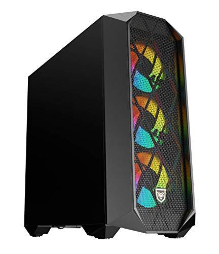 Nfortec Synistra Black Torre Gaming ATX 3.0 RGB con Frontal Mallado, más de 20 Modos de iluminación e Instalación en Formato Vertical - Color Negro
