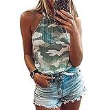PRJN Camisetas sin Mangas de Camuflaje para Mujer Camisetas sin Mangas con Tirantes de Verano Camisetas sin Mangas con Cuello Alto Casual Camiseta con Estampado de Camuflaje para Mujer Tops Tanques
