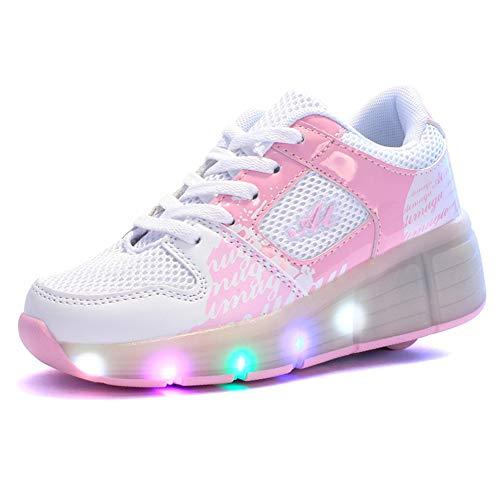 MNVOA Unisex Kinder Mode LED Schuhe mit Rollen Drucktaste Einstellbare Skateboardschuhe Outdoor Gymnastik Turnschuhe Für Junge Mädchen,Rosa,27EU