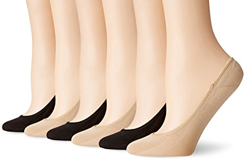 PEDS Women's Ultra Low Microfiber Liner with Gel Tab-6 Pairs, Black/Nude, Shoe Size 5-10