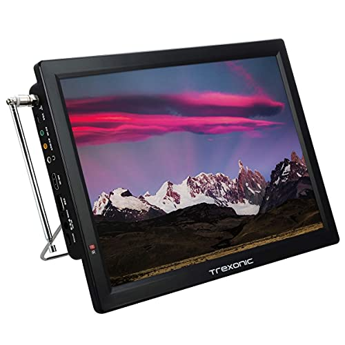 Trexonic Portable Rechargeable 14 Inch LED TV with HDMI, SD/MMC, USB, VGA, AV in/Out and Built-in Digital Tuner