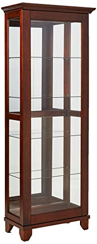 Coaster Casual Warm Brown 5 Shelf Curio Cabinet with Mirrored Back