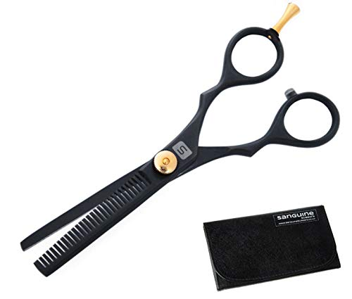 Professional Hairdressing Thinning Scissors 5.5 inch, DEEP Black with Presentation Case