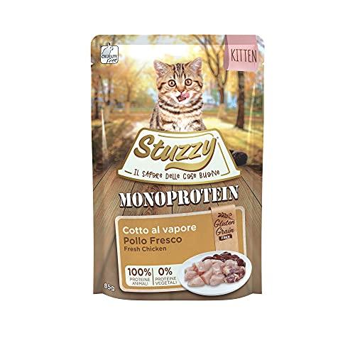 Stuzzy, Cibo Umido per Gatti Cuccioli al Gusto Pollo Fresco, Patè Monoproteico senza Grano e Glutine - Totale 1,36Kg (16 Buste da 85G)