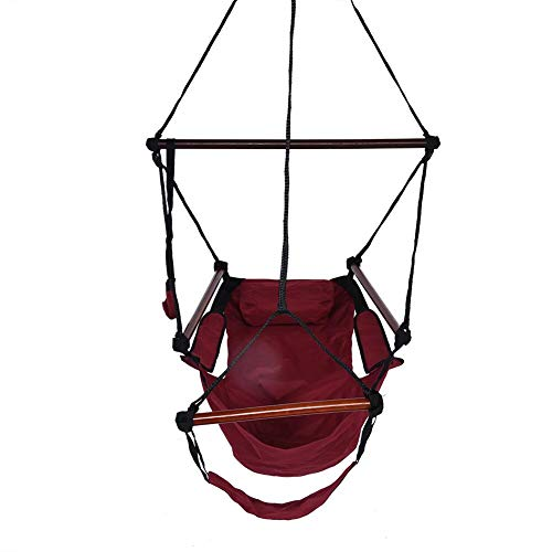 Ruisyi Silla para hamaca, silla colgante para exteriores, columpio de cuerda suspendida para interiores y exteriores, jardín, Patio, patio, sillón colgante para exteriores (rojo)