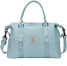Carry on bag for women with Wet Pocket,Travel Weekender Overnight Duffel Bag with Trolley Sleeve Gym Tote Bags Waterproof (Light Sky Blue)