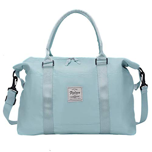Carry on bag for women with Wet Pocket,Travel Weekender Overnight Duffel Bag with Trolley Sleeve Gym Tote Bags Waterproof Large (Light Sky Blue)