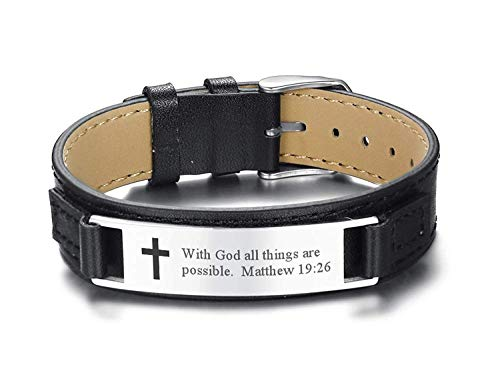 MPRAINBOW Men's Leather Bracelets Engraved with Inspiring Bible Verse Quote,Christian Religious Jewelry Adjustable