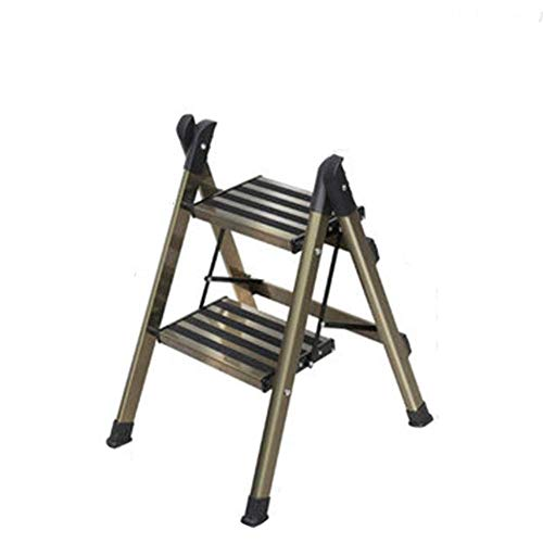 ASDAD Stools Ladder Home Multi-Function Small Ladder Two-Step Three-Step Ladder Indoor Folding Ladder Thick Aluminum Storage Rack Horse (Color : Gold, Size : 45 * 50 * 63cm),45cm