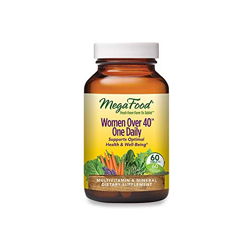 MegaFood, Women Over 40 One Daily, Daily Multivitamin and Mineral Dietary Supplement with Vitamins C, D, Folate, Biotin and Iron, Non-GMO, Vegetarian, 60 Tablets