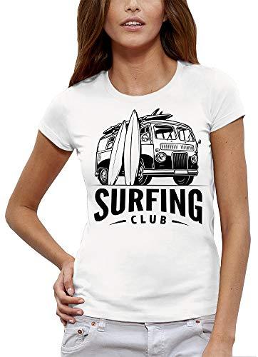 PIXEL EVOLUTION Camiseta Surfing Club Mujer - tamaño 4/XL - Blanco