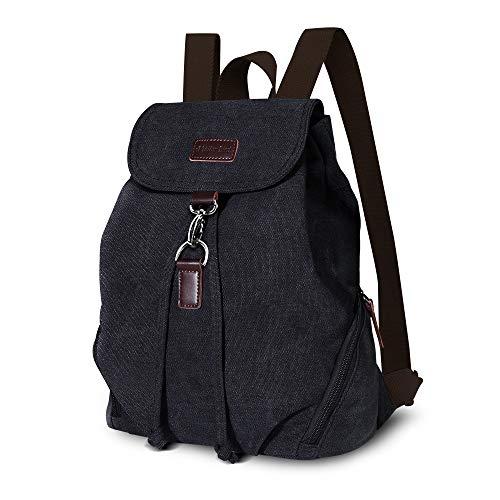 AtailorBird Canvas Rucksack Vintage Schulrucksack Leinwand Drawstring Rucksack Damen Casual Backpack Reise Daypack für Schule, Lässige und Outdoor Camping - Schwarz