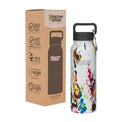 Healthy Human Water Bottles, BPA Free Sports Travel Stainless Steel Insulated Water Bottle Stein 21oz art deco