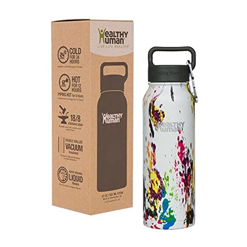 Healthy Human Water Bottle Stein, Lightweight BPA Free Metal Stainless Steel Sports Water Bottles 32oz art deco