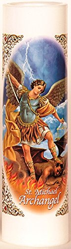 St. Michael Archangel | San Miguel Arcangel | LED Flameless Prayer Candle with Automatic Timer | Veladora de Oracion Sin Llama | English & Spanish| Catholic/Religious Idea
