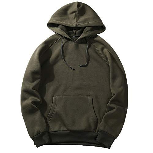 MERICAL Autunno Casuale Hip Solid Uomo Pop Loose Fit Fleece-Shirt con Cappuccio Camicetta Superiore(ArmyGreen,S)