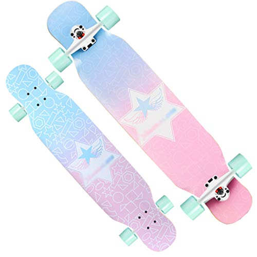 MKJYDM Scooter Maple Long Board Brush Street Dance Board Cuatro Ruedas Doble Skateboard Skateboard Principiante Teen Boy Girl Profesional Skateboard patineta (Color : A)