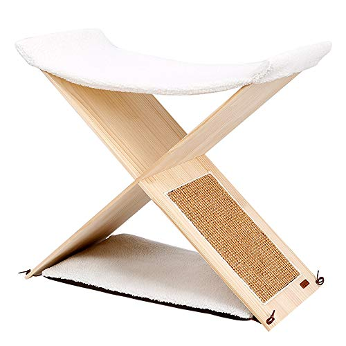 Pet Tent Cave Bed for Cats Dogs, Cat Tree Cat Tower Double-Level Cat Tree Stand House Furniture Solid Wood with Sisal-Covered Scratching Post