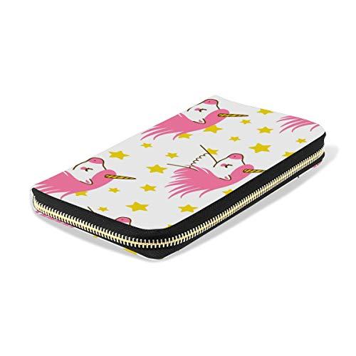 Ahomy Women's Zipper Wallet Cute Cartoon Unicorns PU Leather Ladies Long Wallet Purse Coin Clutch Bag