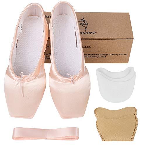 Bezioner-Shop Zapatos de Ballet Niños y Zapatos Adultos Punta con Cintas y Toe Pads (Rosado, 34)