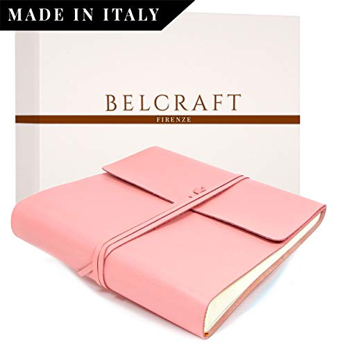 Dolci Babyalbum Leder, Fotoalbum, Elegantes Geschenk mit Geschenkbox, Handgearbeitet in klassischem italienischem Stil, Pink