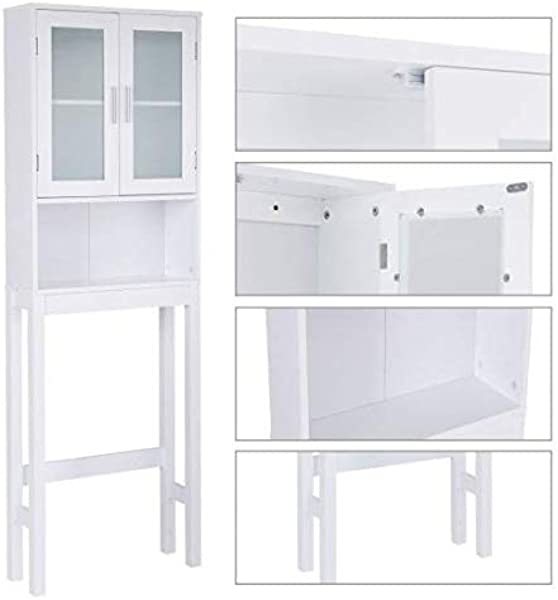 Sunil Bathroom Storage Cabinet Over Toilet White Wooden With Tower Rack