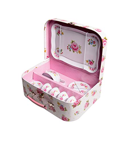 Childrens Rose Covered Tin Tea / Picnic Set and Case