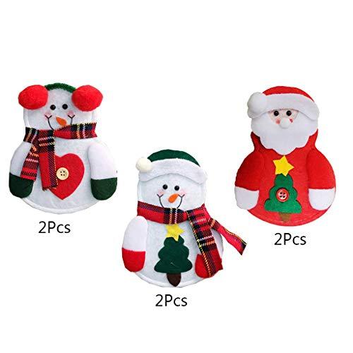 COLUDOR 6 stks Bestek Houder Sneeuwman/Kerstman Kerstman Houder Bestek Zakmes Tas Servies Kerstmis Tafel Decoratie