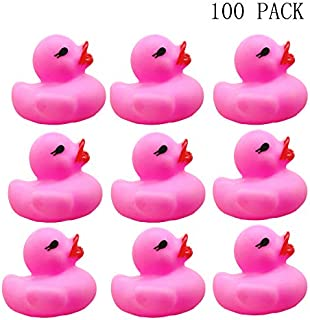 Sohapy 100Pcs Mini Rose Red Rubber Ducks Baby Shower Rubber Ducks, Squeak Fun Baby Yellow Rubber Bath Toy Float Fun Decorations for Shower Birthday Party Favors Gift (100Pcs Pink Rubbers)