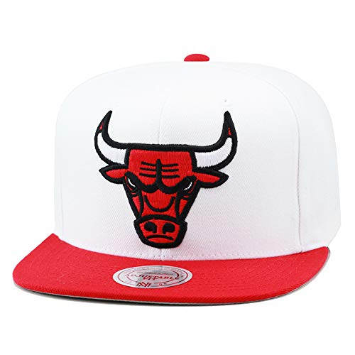 Mitchell & Ness Chicago Bulls Snapback Hat Cap White/Red/XL Size Logo