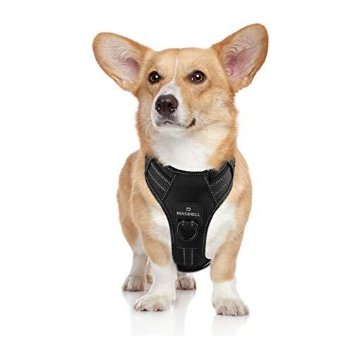 MASBRILL Hundegeschirr Einstellbare Anti Zug Sicherheitsgeschirre Reflektierend Brustgeschirre Weich Gepolstert Atmungsaktiv Hunde Geschirr für Große Mittlere und Kleine Hunde(Schwarz M)
