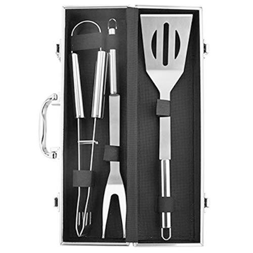 DYWOZDP 3pc BBQ-Grill-Werkzeug-Set mit personalisierten Tragetasche - Extra dicken Edelstahl-Spatel Gabel Zangen für Barbecue & Grill - perfektes BBQ Grill-Geschenk für Männer Dad Frauen
