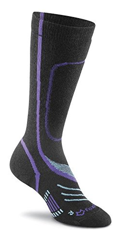 Fox River Damen Peak Series VVS Low Pro Skisocken aus Seide Größe L schwarz/violett