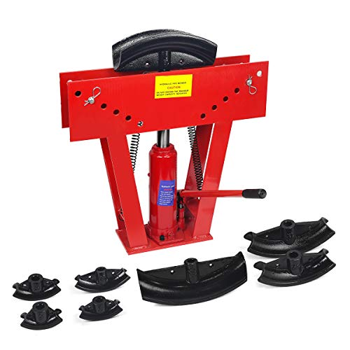XtremepowerUS 12 Ton Heavy Duty Hydraulic Tube Bender 180 Degree Tubing Metal Steel Iron Exhaust Pipe Bending with 6...