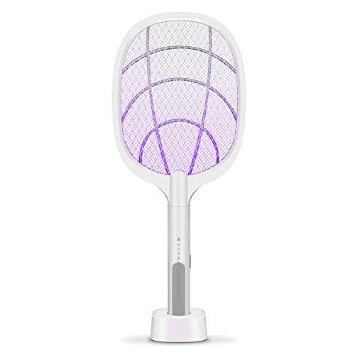 AEU Lámpara Antimosquitos Y Eléctrica Raqueta Mosquitos 2 En 1, Matamoscas Electrico Raqueta Matamoscas Recargable por USB, Luz LED UV, Mango Extraíble, Protección De Malla De 3 Capa