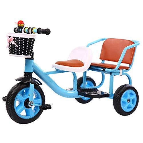 ASDF Tándem para Niños Triciclo con Almacenamiento Compartimiento, Doble Asiento Pedal Bicicleta Poder Llevar Personas,D