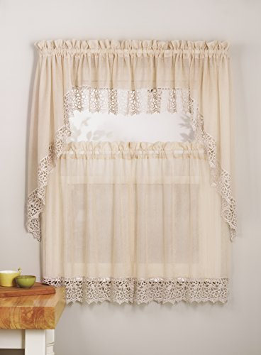 Mk Collection 3pc White or Antique Crushed Kitchen/Cafe Curtain Tier and Swag Set (Antique)