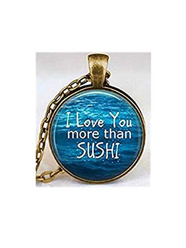 Ich Liebe Sie mehr als Sushi Halskette, japanische Sushi, Sushi Fish Halskette