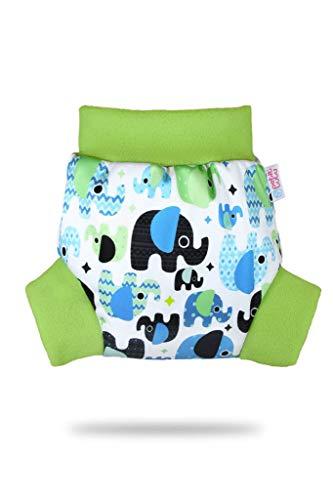 Petit Lulu Überhose (Schlupfüberhose) Größe L (9-13 kg) für Höschenwindeln und Nachtwindeln (Baby Elefanten (blau))