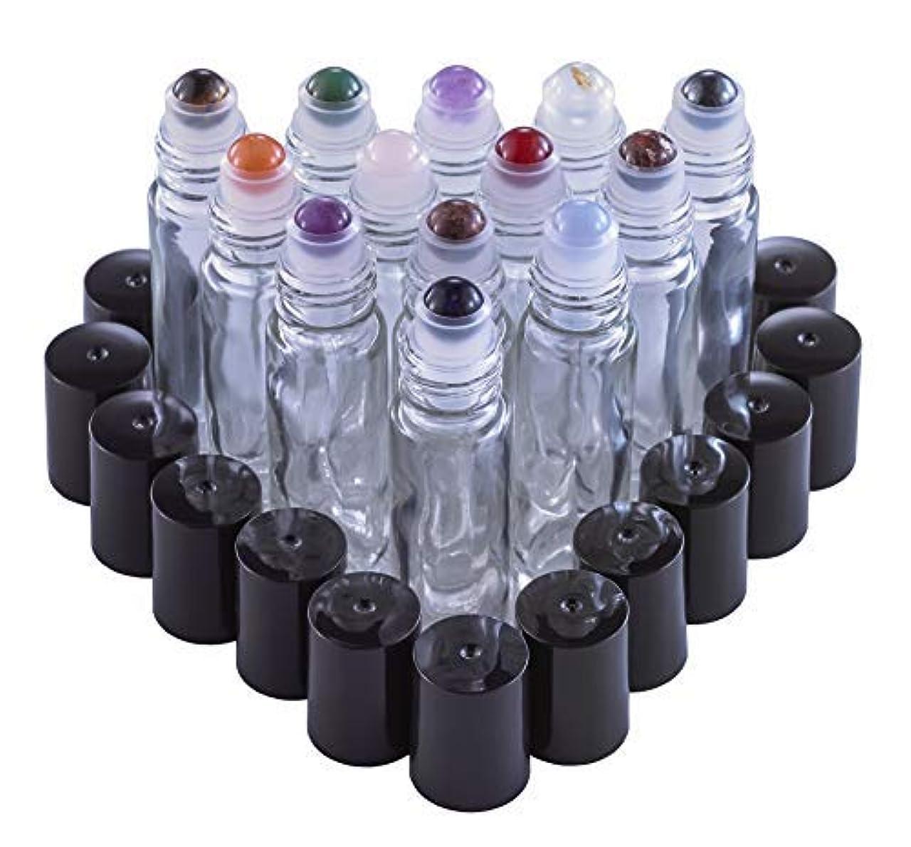 賠償ミニ祈るGemstone Roller Balls For Essential Oils - 13 Beautiful Glass Roller Bottles With Precious Gemstones and Crystals Tops - For Blending Including Tiger Eye, Rose Quartz, Amethyst [並行輸入品]