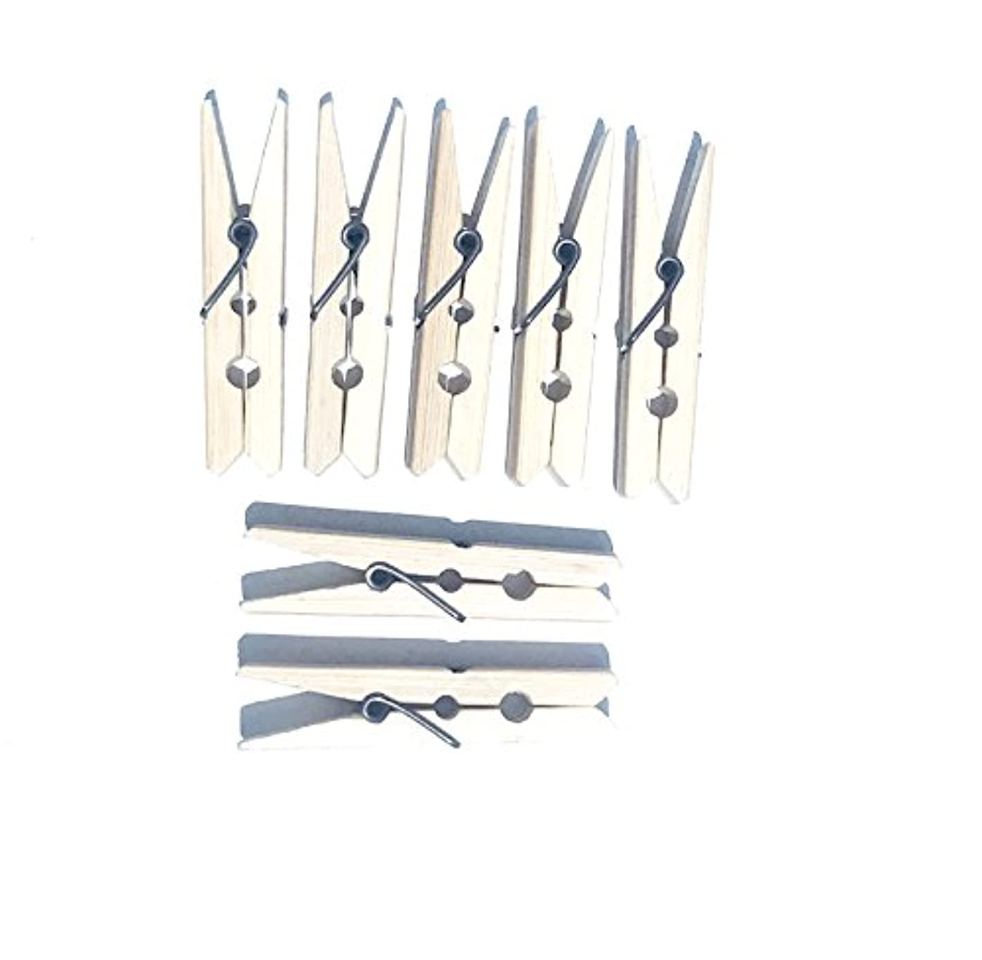 Alphy Natural Bamboo Clothes Pins Pegs Hanging Clips Clothespins, 2.4