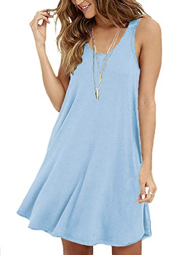 VIISHOW Women's Summer Sleeveless Casual Swing Simple T-Shirt Loose Dress,Light Blue,XX-Large