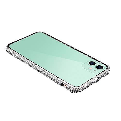iPhone 12 mini アルミバンパー ケース/カバー ラインストーン キラキラ エレガント かわいい おしゃれ 金属アルミ アップル アイフォン12ミニ デコレーション サイドバンパー[iPhone 12 mini(シルバー)]